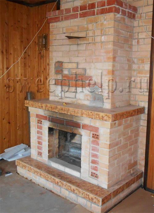 кирпичный камин с прямым перекрытием